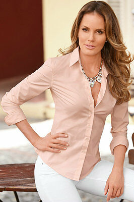 Womens Turn Down Collar OL Long Sleeve Blouse Ladies Office Work Shirts Clothing 6