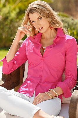 Womens Turn Down Collar OL Long Sleeve Blouse Ladies Office Work Shirts Clothing 4