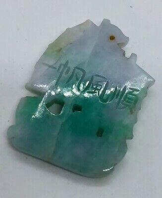 Ancien Chinois Sculpté Vert Blanc Jade Bateau Bateau Signé Pendentif 5