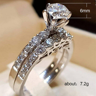 Elegant Women 925 Silver Jewelry Wedding Set Rings White Sapphire Ring Size 5-12 2