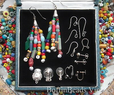 Antique tassel EARRINGS Venetian Bohemian vintage beads LONG .925 colourful Afro 3