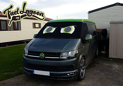 VW Transporter T6 Front Window Screen Cover Black Out Blind Frost Eyes Green 2