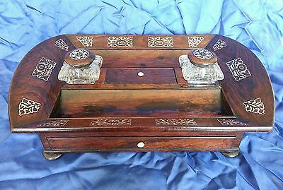 A William lV . Rosewood veneered Desk Standish / Ink well stand.Circa 1830's 11