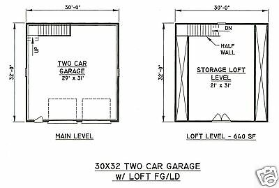 30x32 2 car front gable garage building blueprint plans with walk 1 of 2free shipping 30x32 2 car front gable garage building blueprint plans with walk open loft area malvernweather Image collections