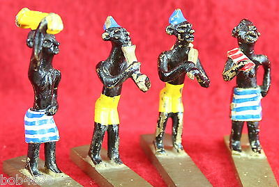 4 VINTAGE 1930s/40s SOLID BRASS HAND PAINTED MINIATURE EGYPTIAN Musician FIGURES 3