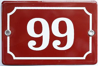 Brown French house number 66 99 door gate plate plaque enamel steel metal sign 2