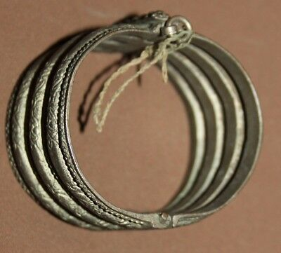 Antique Greek Folk ornate floral Silver Hinged Bracelet 7