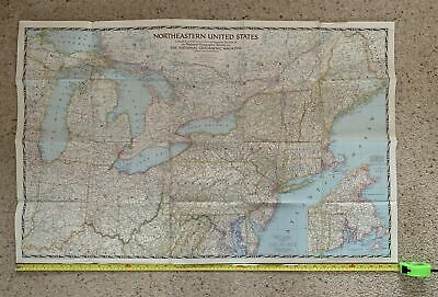 Vintage 104 x 66cm 1945 National Geographic Map NORTHEASTERN UNITED STATES USA 6