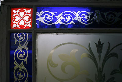 c1850 two glass window, cut glass to clear ruby, cobalt, clear, heart, tulip, 7' 11