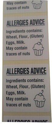 Cup Cake Allergy Labels,Cake allergen Warning Labels,Food Allergy Content Labels 7