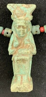 Ancient Egyptian Faience Bead Necklace with Seated Isis & Horus Amulet 4