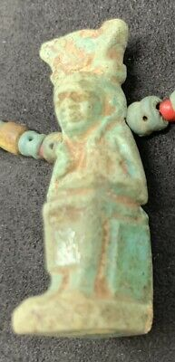 Ancient Egyptian Faience Bead Necklace with Seated Isis & Horus Amulet 3