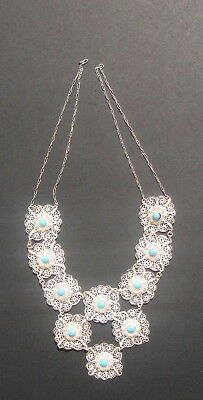 Antique 19th Century Chinese Sterling Silver and Turquoise Necklace and Earrings 2