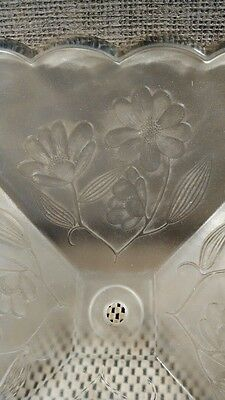 Vintage Clear Pressed Frosted Glass Ceiling Light Shade, Floral, Nice! 4 Pannel 3