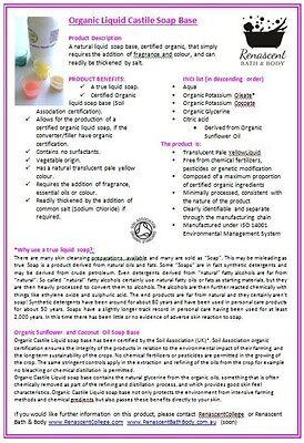 Organic Castile Liquid Soap Base - DIY Hand + Body Wash Unscented 100% Natural