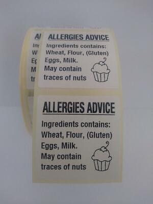 Cup Cake Allergy Labels,Cake allergen Warning Labels,Food Allergy Content Labels 8