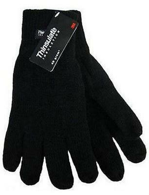 Thermal Knitted Acrylic Glove 3M Thinsulate Lined Black Knit Warm Winter Work 2