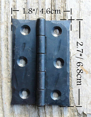"2 Handmade 2.5"" Butt Door Wrought Iron Hinges Antique Cabinet Cupboard Box Decor 5"