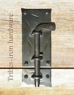 HAND FORGED SLIDE BOLT DOOR LATCH Cabinet Gate Shed Antique Wrought Iron Lock 3