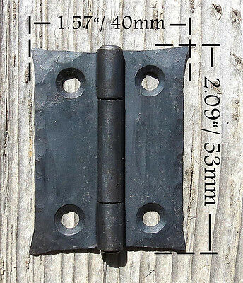 "2 Handmade 2"" Butt Door Wrought Iron Hinges Antique Cabinet Cupboard Box Decor 2"