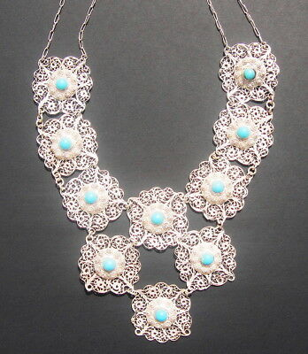 Antique 19th Century Chinese Sterling Silver and Turquoise Necklace and Earrings 3