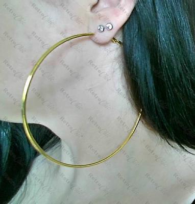 4 Of 8 Large Hoop Earrings Thin Metal Hoops 12cm 10cm 9cm Fashion Gold Black