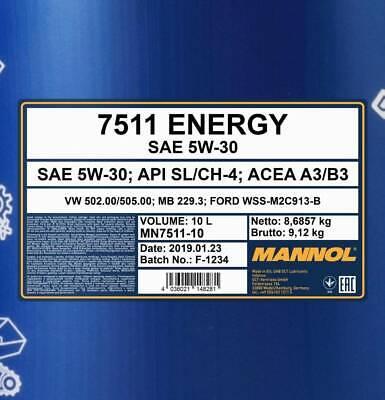 5W-30 Motoröl 10 Liter MANNOL Energy 5W30 VW 502.00 505.00 ACEA A3 B3 MB 229.3 3