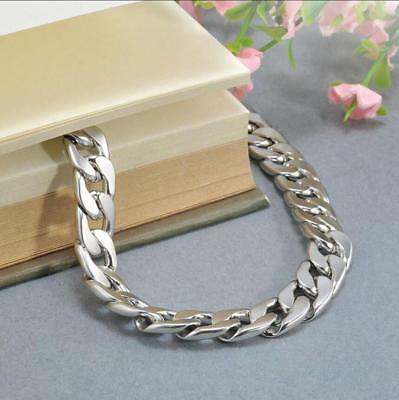 Silver Men's Stainless Steel Link Punk Chain Bracelet Wristband Bangle Jewelry 8