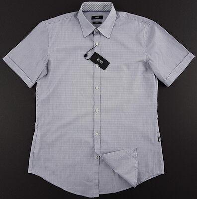 ab20fa912 ... Men's HUGO BOSS White Navy Blue Striped Short Sleeve S/S Shirt Medium M  NWT