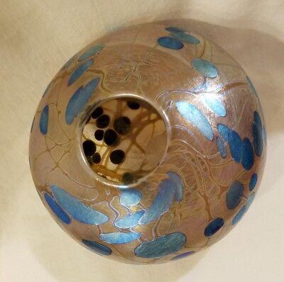 Rate Stunning Siddy Langley Signed Vintage Glass Vase Blue Design Masterpiece