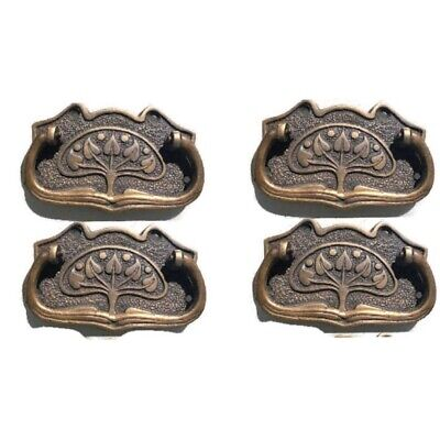 4 DECO cabinet handles solid brass furniture antiques vintage age style 9cmB 7