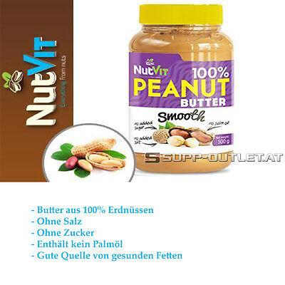 NutVit 100% Peanut Butter Smooth 500g/1000g Erdnussbutter, Nussbutter Fettsäuren