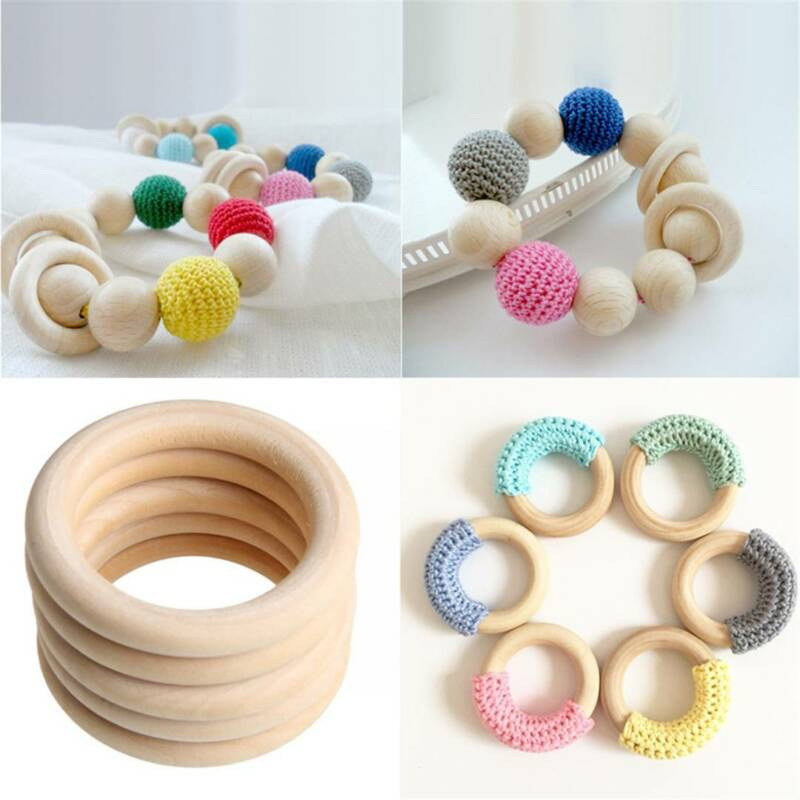 10/20Pcs Wood Rings Round 55-65mm Unfinished Wooden Rings DIY Teething Ring OZ 6