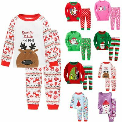1-7YS Boys Girls Kids Christmas Xmas Santa PJs Pyjamas Outfit Long Cotton PJS UK 6
