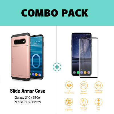 Galaxy S10 S10e S9 S8 Plus Note9 Case Slide Armor Wallet Card Slots Holder Cover 3