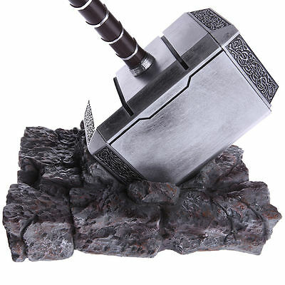 US Ship The Avengers 1:1 Thor Hammer Replica Resin Stand Base Cosplay Props Gift 6