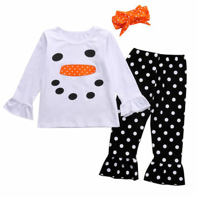 Toddler Kids Girls Christmas Snowman Olaf Tops Dot Pants Outfits Set Clothes 5