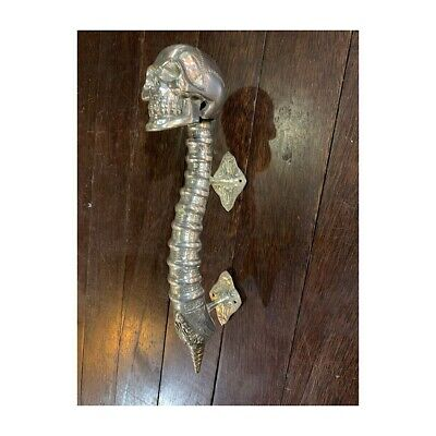 "2 SKULL handle DOOR PULL spine BRASS old vintage style silver plated 13 "" long B 6"