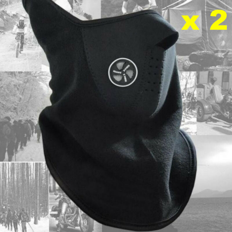 2 x Unisex Ski Mask Neck Warmer Neoprene Face Mask Winter Cold Weather Face Mask