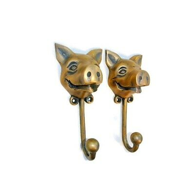 """4 heavy PIG HOOK WALL MOUNTED COAT old style solid brass BAG ANIMAL 6"""" HANGER B 11"""