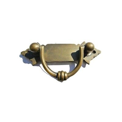 """4 small old look BOX drawer pulls handles for antiques brass vintage style 4.12"""" 7"""