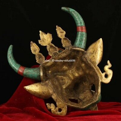 Copper Inlaid Coral Turquoise Gem Ox Oxen Cow Bull Cattle Head Mask Masks Statue 8