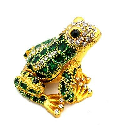 FROG JEWELRY Trinket Box Bejeweled Green Gold Toad Decorative