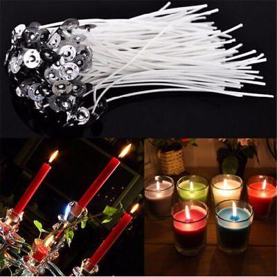 50 Pcs 15cm Kerze Dochte Baumwolle Kern gewachst Docht mit Metall Erhalter DIY 3