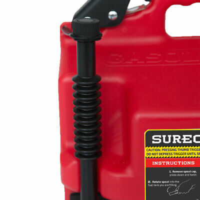 Red 2 Pack Surecan Self Venting Easy Pour Nozzle 2.2 Gallon Flow Control Gas Container