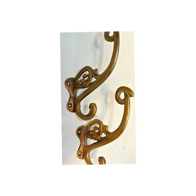 """4 old ook COAT HOOKS FLOWER door solid brass furniture age old style 4"""" B 8"""