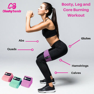 Resistance Booty Bands Set, 3 Hip Circle Loop Bands Workout Exercise Guide & Bag 4
