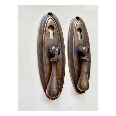 "2 oval drop Pull knob pulls handles 4"" brass door key hole vintage old style B 7"