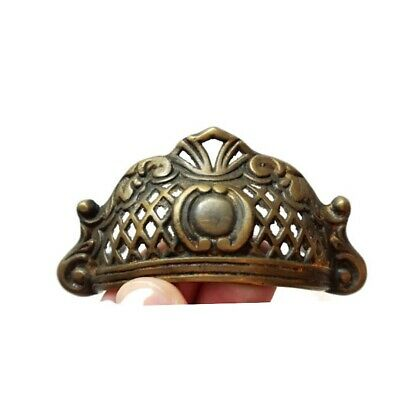 4 engraved shell shape pulls handles heavy solid brass old style drawer 10 cm B 12