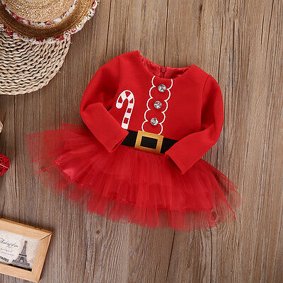 UK Stock Kids Baby Girl Clothes XMAS Santa Claus Party Tulle Tutu Dress Outfits 3